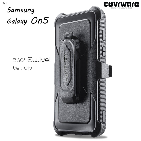 Samsung Galaxy On5 (G550) [IRON TANK Series] Brushed Metal Texture Designed Holster Case with Built-in Screen Protector