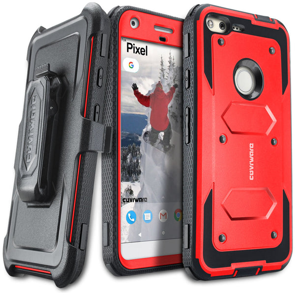 Google Pixel [ Aegis Series ] Full-Body Armor Rugged Holster Case with Built-in Screen Protector [Kickstand][Belt-Clip]