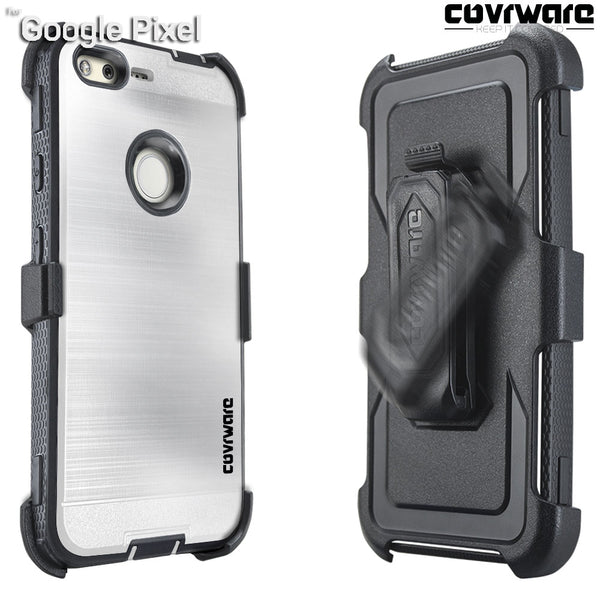 Google Pixel [IRON TANK Series] Brushed Metal Texture Designed Holster Case with Built-in Screen Protector