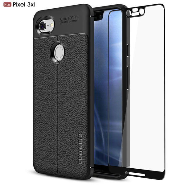Google Pixel 3 XL (2018) Case, COVRWARE [L Series] with [Tempered Glass Screen Protector] TPU Leather Texture Design Cover [Light Weight], Black