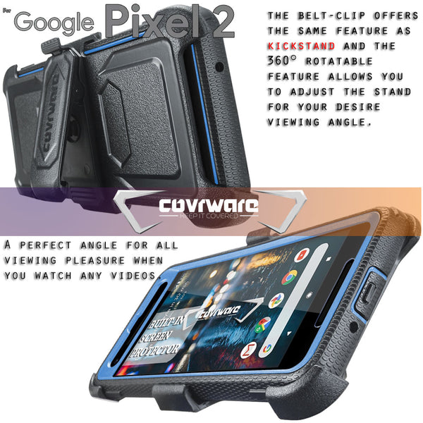 Google Pixel 2 [ Aegis Series ] Full-Body Armor Rugged Holster Case with Built-in Screen Protector [Kickstand][Belt-Clip]