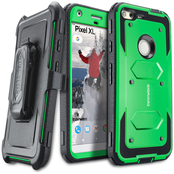 Google Pixel XL [ Aegis Series ] Full-Body Armor Rugged Holster Case with Built-in Screen Protector [Kickstand][Belt-Clip]