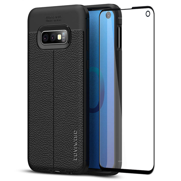 "Samsung Galaxy S10e (5.8"") Case, COVRWARE [L Series] with [Tempered Glass Screen Protector] TPU Leather Texture Design Cover [Light Weight], Black"