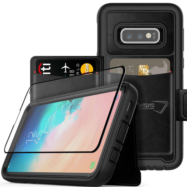"Samsung Galaxy S10e (5.8""), COVRWARE Wallet Case with Tempered Glass Screen Protector [Compatible with in-Display Fingerprint Sensor][Stand Feature] w/Card Slot Pocket Magnetic Closure"