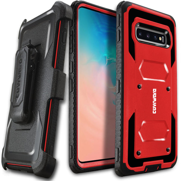 Samsung Galaxy S10+ / S10 PLUS (6.4 inch) COVRWARE [Aegis Series] Case Heavy Duty Full-Body Rugged Holster Armor Case [Belt Clip][Kickstand]