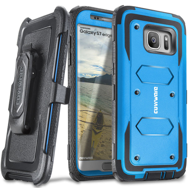 Samsung Galaxy S7 Edge [ Aegis Series ] with [Screen Protector] Heavy Duty Rugged Armor Holster Case [Kickstand][Belt-Clip]