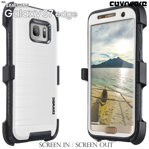 Samsung Galaxy S7 Edge [IRON TANK Series] Brushed Metal Texture Designed Holster Case with Screen Protector [Kickstand]