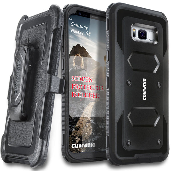 Samsung Galaxy S8 [ Aegis Series ] with [Screen Protector] Heavy Duty Rugged Armor Holster Case [Kickstand][Belt-Clip]