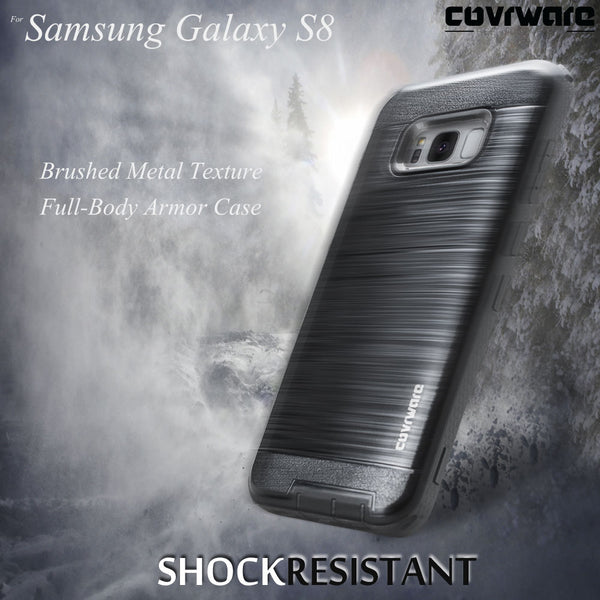 Samsung Galaxy S8 [IRON TANK Series] with [Screen Protector] Brushed Metal Texture Designed Armor Holster Case [Kickstand]