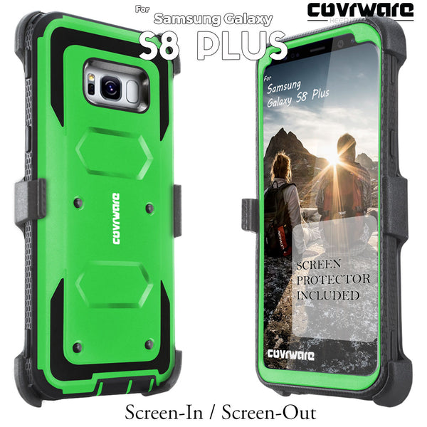 Samsung Galaxy S8 PLUS [ Aegis Series ] with [Screen Protector] Heavy Duty Rugged Armor Holster Case [Kickstand][Belt-Clip]
