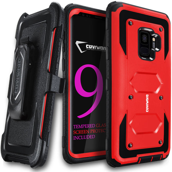Samsung Galaxy S9 Case, COVRWARE [Aegis Series] w/[3D Tempered Glass Screen Protector] Full Body Rugged Holster Armor Case [Belt Swivel Clip][Kickstand]