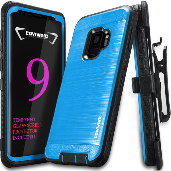 Samsung Galaxy S9 Case, COVRWARE [Iron Tank Series] w/ [3D Tempered Glass Screen Protector] Full Body Rugged Holster Armor Case [Belt Swivel Clip][Kickstand]