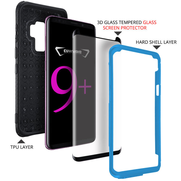 Samsung Galaxy S9 +/S9 PLUS Case, COVRWARE [Aegis Series] w/[3D Tempered Glass Screen Protector] Full Body Rugged Holster Armor Case [Belt Swivel Clip][Kickstand]