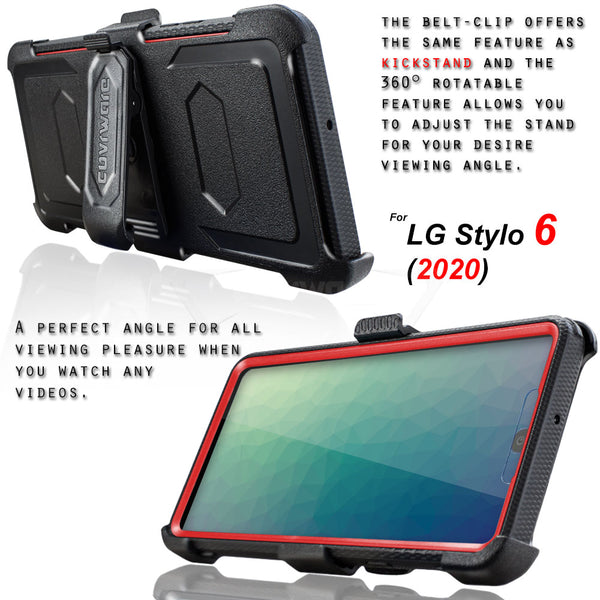 LG Stylo 6 (2020) COVRWARE [Aegis Series] Case [Built-in Screen Protector] Heavy Duty Full-Body Rugged Holster Armor Case [Belt Clip][Kickstand]