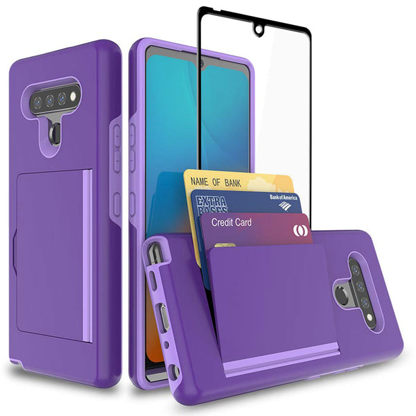LG K51 / LG Q51 / LG Reflect Case, Card Slot Cover [Tempered Glass Screen Protector] Dual Layers 3 Cards Slot Protective Armor Cover