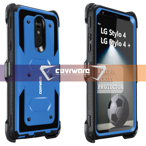 LG Stylo 4 / Stylo 4 + [ Aegis Series ] Full-Body Armor Rugged Holster Case with Built-in Screen Protector [Kickstand][Belt-Clip]