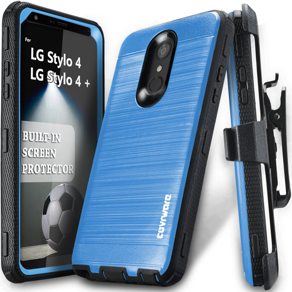 LG Stylo 4 / Stylo 4 + [IRON TANK Series] Brushed Metal Texture Holster Case with Built-in Screen Protector [Kickstand][Belt-Clip]