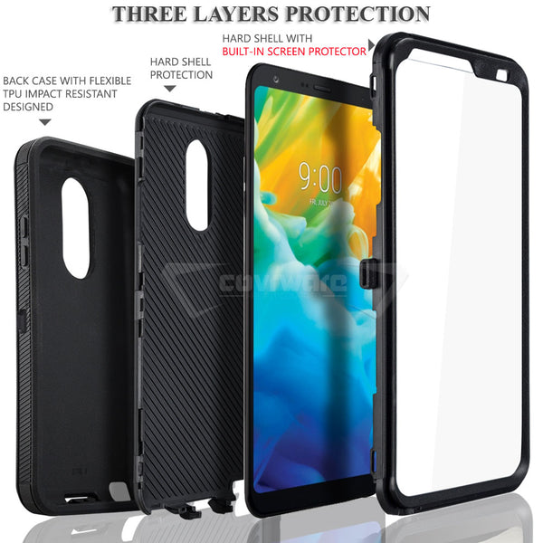LG Stylo 4 / Stylo 4 PLUS, COVRWARE [Tri Series] w/ Built-in [Screen Protector] Heavy Duty Full-Body Triple Layers Protective Armor Case