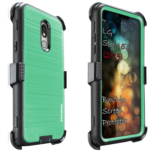 LG Stylo 5 / LG Stylo 5X / Stylo 5+ / Stylo 5 Plus [IRON TANK Series] Brushed Metal Texture Holster Case with Built-in Screen Protector [Kickstand][Belt-Clip]