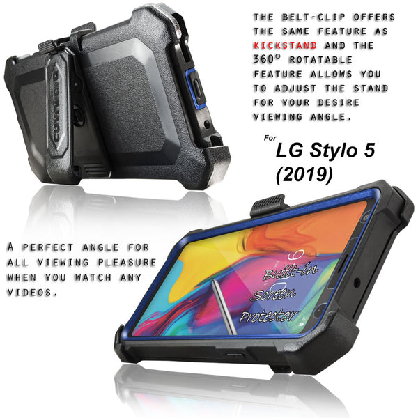 LG Stylo 5 / Stylo 5X / Stylo 5+ / Plus (2019) COVRWARE [Aegis Pro Series] Case [Built-in Screen Protector] Heavy Duty Full-Body Rugged Holster Armor Case [Belt Clip][Kickstand]