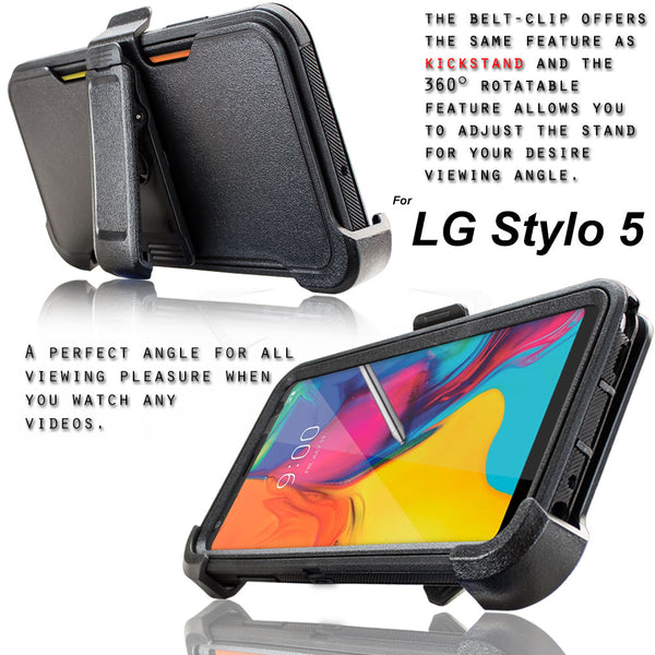 LG Stylo 5 / LG Stylo 5X / Stylo 5+ / Plus Case, COVRWARE [Tri Series] with Built-in [Screen Protector] Heavy Duty Full-Body Triple Layers Protective Armor Holster Cover [Swivel Belt-Clip][Kickstand]