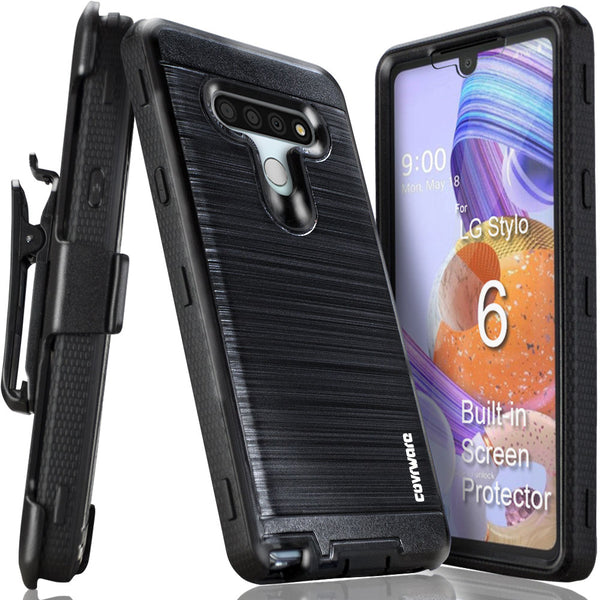 LG Stylo 6 [IRON TANK Series] Brushed Metal Texture Holster Case with Built-in Screen Protector [Kickstand][Belt-Clip]
