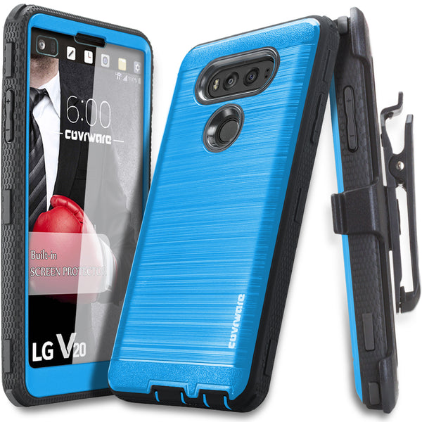 LG V20 [IRON TANK Series] Brushed Metal Texture Holster Case with Built-in Screen Protector [Kickstand]