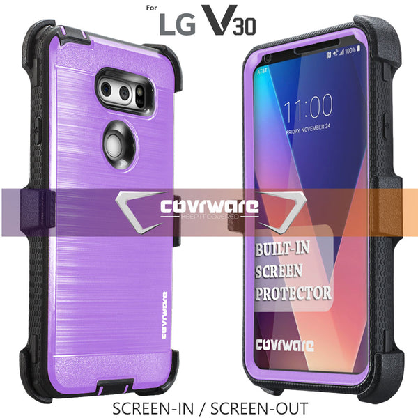 LG V30 / V30s / V30 Plus / V35 / 2017 Released [IRON TANK Series] Brushed Metal Texture Designed Holster Case with Built-in Screen Protector