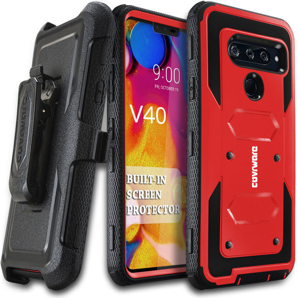 LG V40 ThinQ/LG V40 2018, COVRWARE [ Aegis Series ] Case with Built-in [Screen Protector] Heavy Duty Full-Body Rugged Holster Armor Case [Belt Swivel Clip][Kickstand]