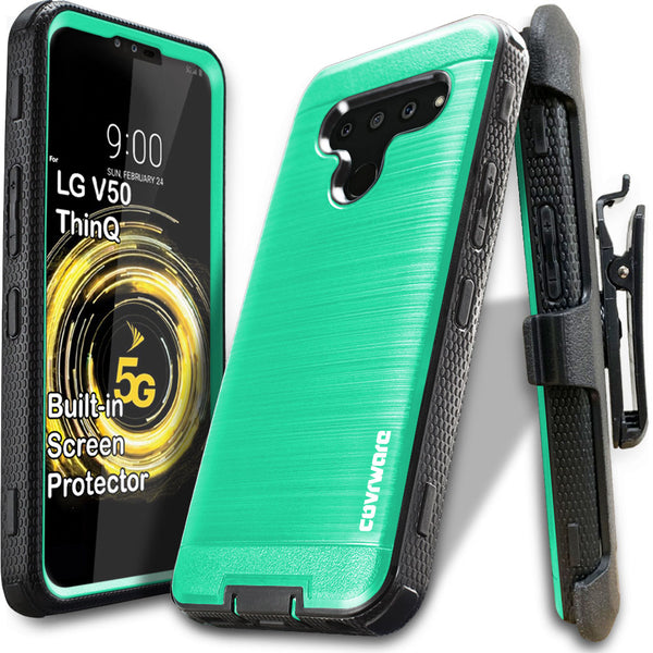 LG V50 ThinQ 5G [IRON TANK Series] Brushed Metal Texture Holster Case with Built-in Screen Protector [Kickstand][Belt-Clip]