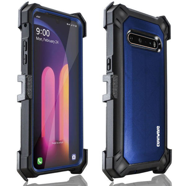 LG V60 thinQ, V60 Case COVRWARE [Aegis Pro Series] with Built-in [Screen Protector] Heavy Duty Full-Body Rugged Holster Armor Cover [Belt Swivel Clip][Kickstand]
