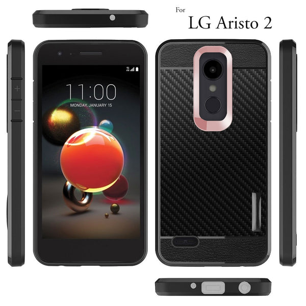 LG Aristo 2 / X210 Case, COVRWARE [Shield Series] with [Full Coverage 3D Tempered Glass Screen Protector] Soft Flexible TPU Cover with [Carbon Fiber Designed]