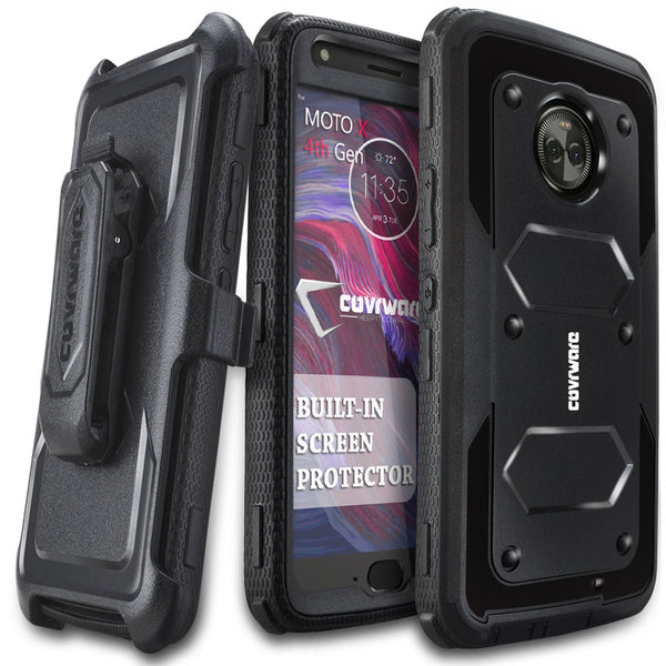 Moto X (4th Gen) [ Aegis Series ] Full-Body Armor Rugged Holster Case with Built-in Screen Protector [Kickstand][Belt-Clip]