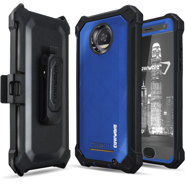 Moto Z2 Play Case, COVRWARE [Aegis Pro Series] with Built-in [Screen Protector] Heavy Duty Full-Body Rugged Holster Armor Cover [Belt Swivel Clip][Kickstand]