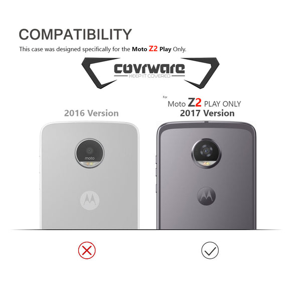 Moto Z2 Play / Z2 Force, COVRWARE [Tri Series] w/ Built-in [Screen Protector] Heavy Duty Full-Body Triple Layers Protective Armor Case