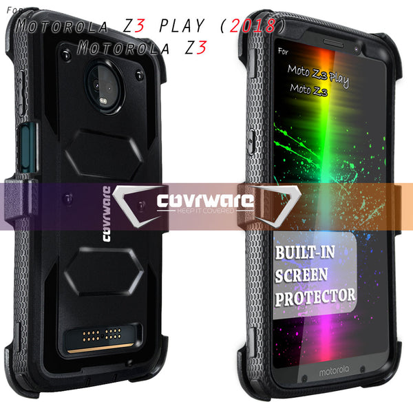 Moto Z3 Play / Z3 Case, COVRWARE [ Aegis Series] Built-in [Screen Protector] Heavy Duty Full-Body Rugged Holster Armor Case [Belt Swivel Clip][Kickstand]
