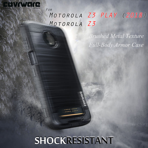 Motorola Z3 PLAY / Z3 (2018) [IRON TANK Series] Brushed Metal Texture Holster Case with Built-in Screen Protector [Kickstand][Belt-Clip]