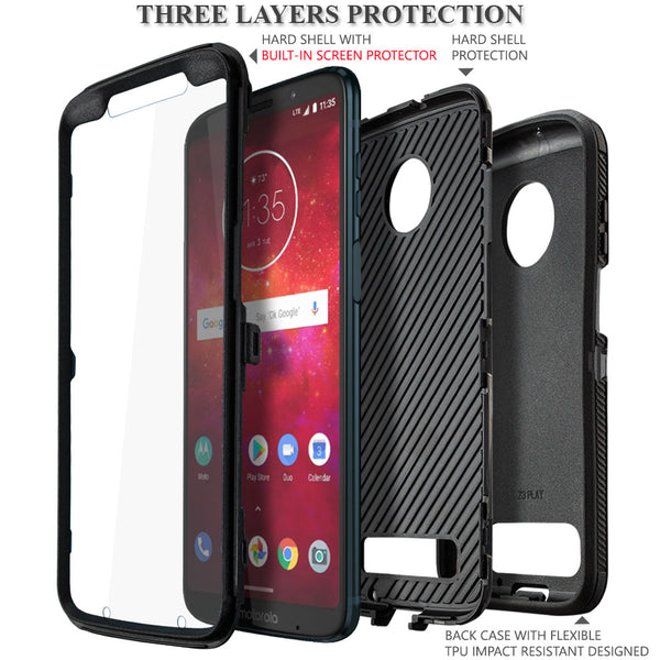Moto Z3 Play/Moto Z3 (2018) Case, COVRWARE [Tri Series] with Built-in [Screen Protector] Heavy Duty Full-Body Triple Layers Protective Armor Case