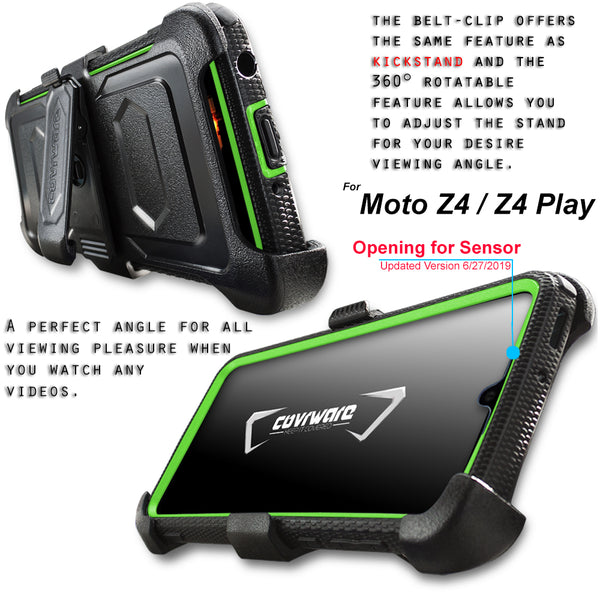 Moto Z4 / Z4 Play Case, COVRWARE [ Aegis Series] Built-in [Screen Protector] Heavy Duty Full-Body Rugged Holster Armor Case [Belt Swivel Clip][Kickstand]