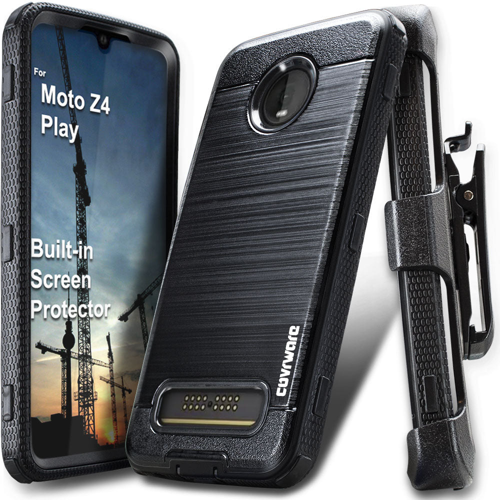 sports shoes 27507 85726 Moto Z4 / Z4 PLAY [IRON TANK Series] Brushed Metal Texture Holster Case  with Built-in Screen Protector [Kickstand][Belt-Clip]
