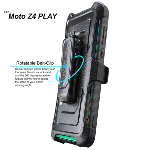 Moto Z4 / Z4 PLAY [IRON TANK Series] Brushed Metal Texture Holster Case with Built-in Screen Protector [Kickstand][Belt-Clip]