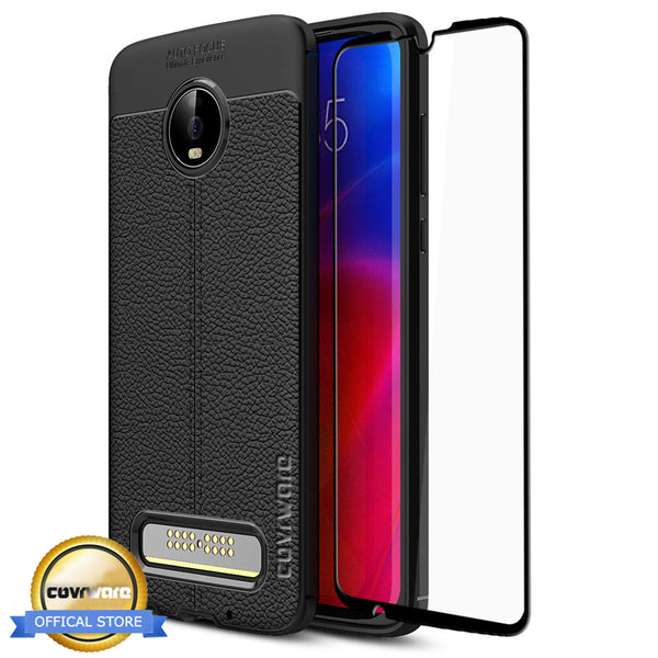 Moto Z4 Case, COVRWARE [L Series] with [Tempered Glass Screen Protector] TPU Leather Texture Design Cover [Light Weight], Black