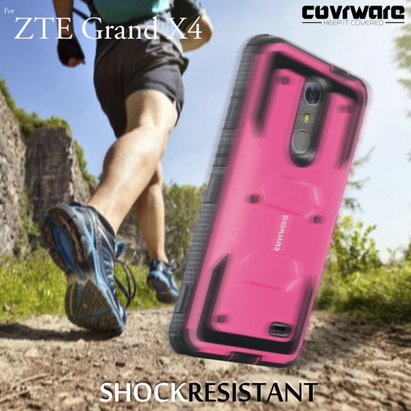 ZTE Grand X4 / Blade Spark [ Aegis Series ] Full-Body Armor Rugged Holster Case with Built-in Screen Protector [Kickstand][Belt-Clip]