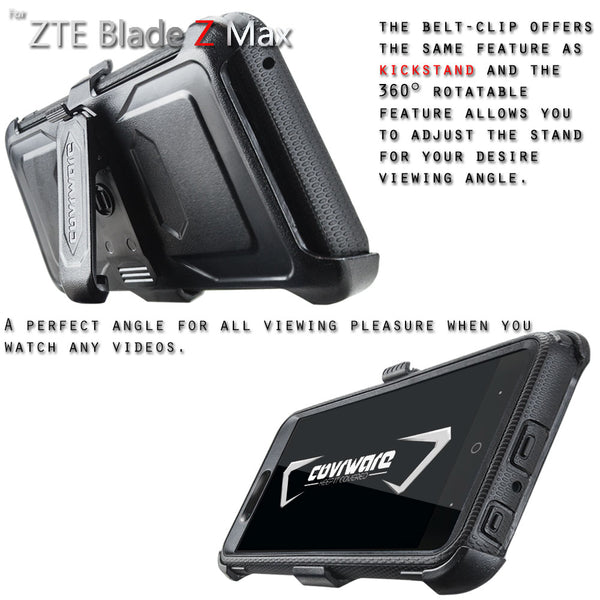 ZTE Blade Z Max (Z982) / ZTE ZMAX PRO 2 / Sequoia [ Aegis Series ] Full-Body Armor Rugged Holster Case with Built-in Screen Protector