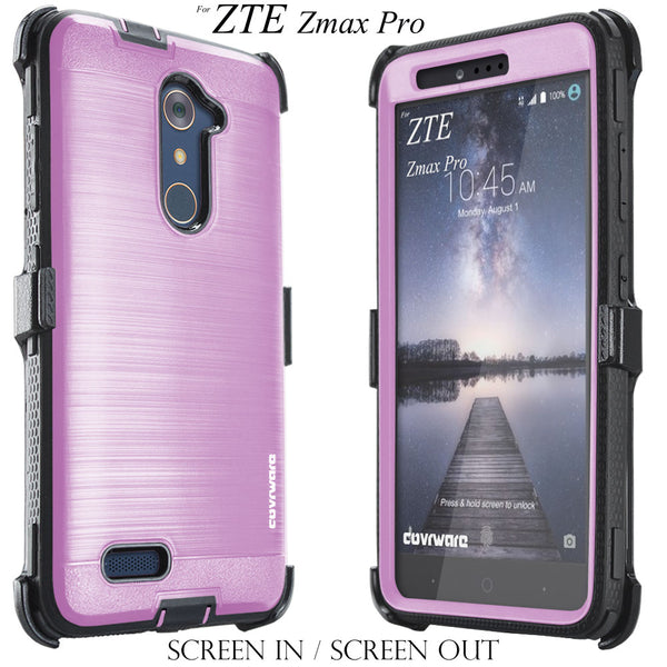ZTE Zmax Pro (Z981) [IRON TANK Series] Brushed Metal Texture Holster Case with Built-in Screen Protector [Kickstand]