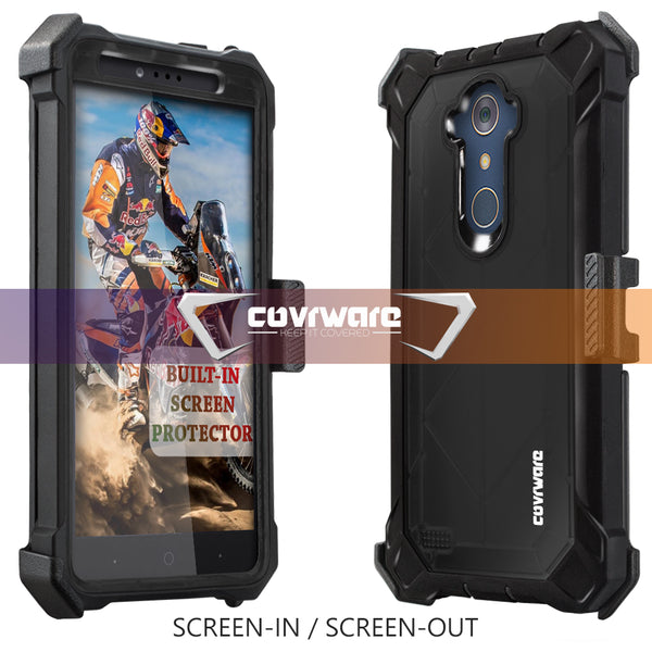 ZTE ZMAX PRO / MAX XL / Blade X Max / Blade Max 3 [Ranger Pro] Full-Body Armor Holster Case with Built-in Screen Protector [Kickstand][Belt-Clip]