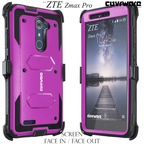 ZTE Zmax Pro (Z981) [ Aegis Series ] Full-Body Armor Rugged Holster Case with Built-in Screen Protector [Kickstand][Belt-Clip]