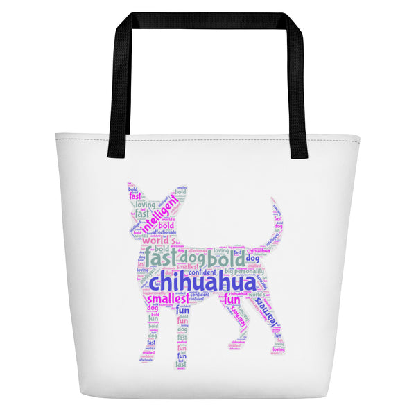 Chihuahua Wordart Beach Bag