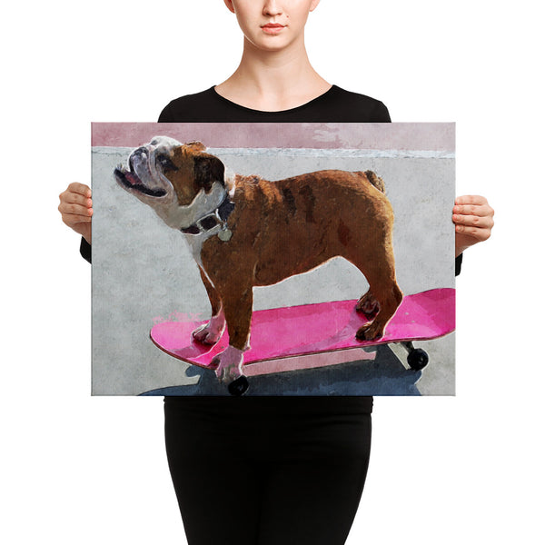 Skateboarding Bulldog Canvas