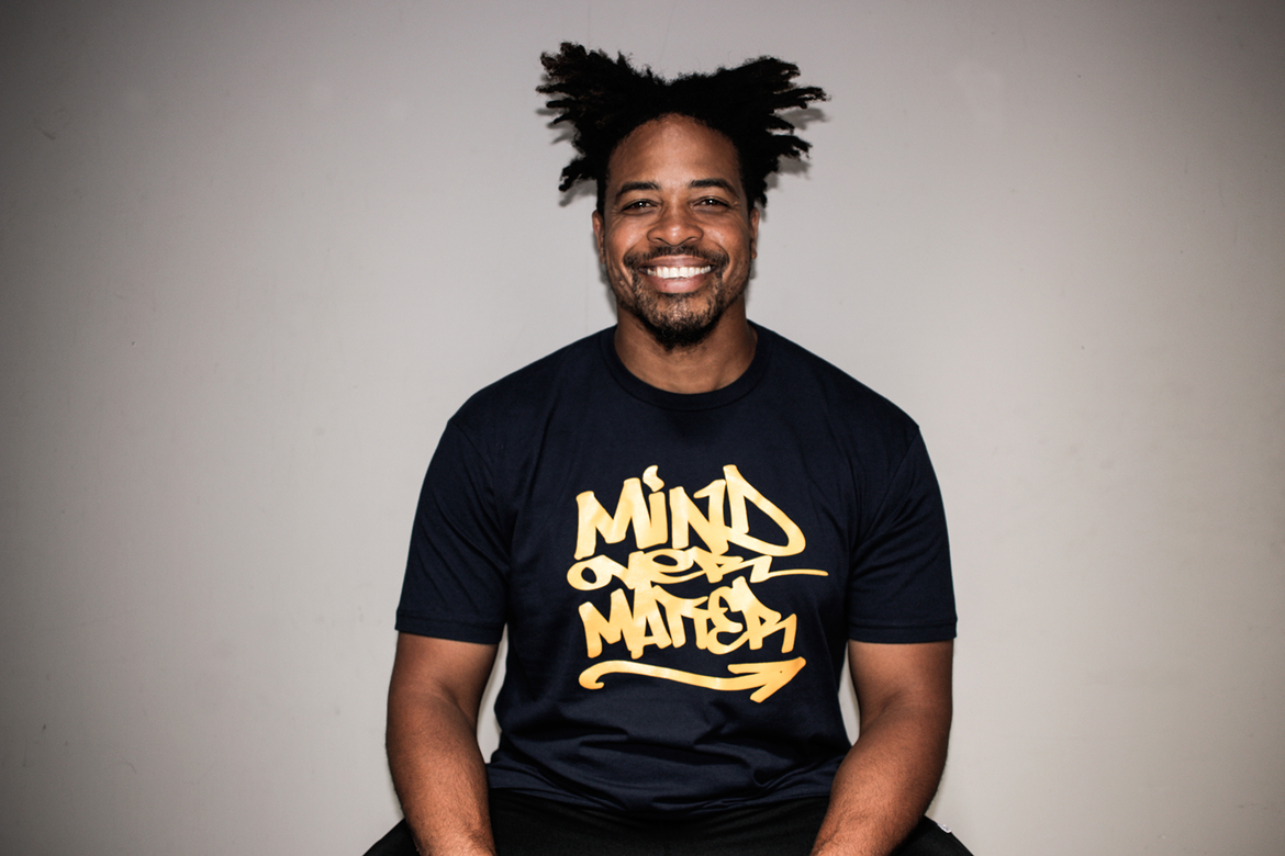 Smiling from ear to ear - screen printing Mind Over Matter tees